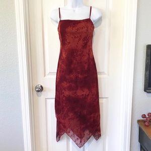 City Triangles Rust Red Asymmetrical Dress Sz M